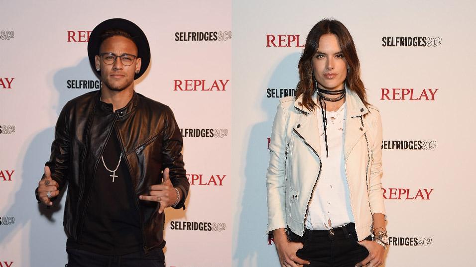 neymar y alessandra ambrosio en la cena de Replay Hyperfree en londres