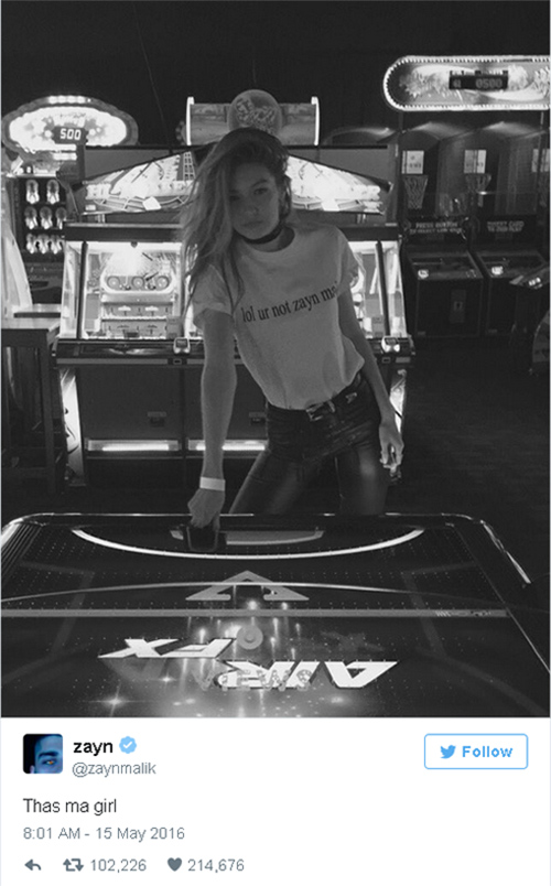 Gigi Hadid wearing t-shirt from instagram Zayn Malik.