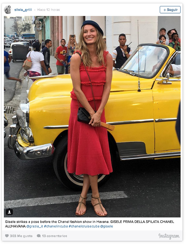 Gisele Bunchen en el desfile de Chanel en Cuba
