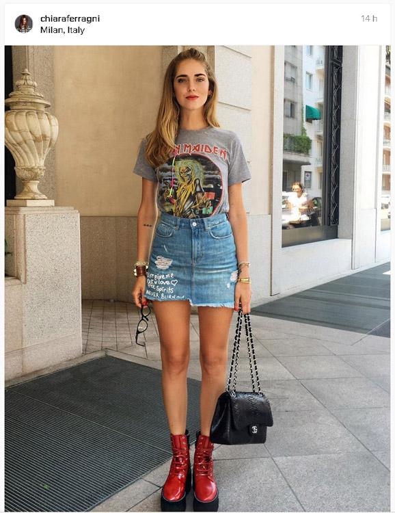 blogger chiara ferragni con minifalda vaquera