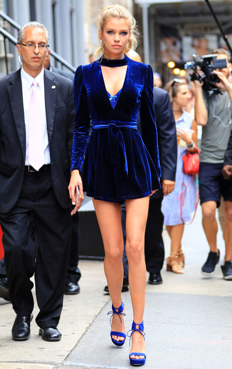 Stella Maxwell wears a blue velvet romper in Soho, NY. Pictured: Stella Maxwell Ref: SPL1325122 260716 Picture by: Jackson Lee/ Splash News Splash News and Pictures Los Angeles:310-821-2666 New York:212-619-2666 London:870-934-2666 photodesk@splashnews.com
