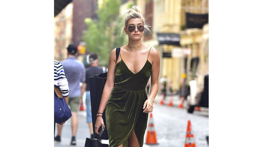 Hailey Baldwin wearing Velvet Dress
