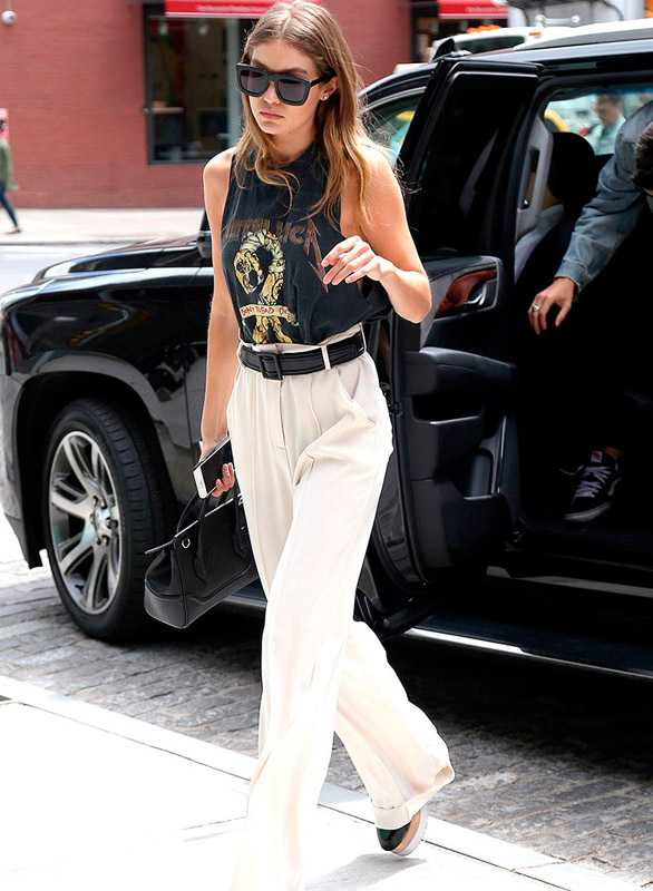 gigi hadid in rock tshirt
