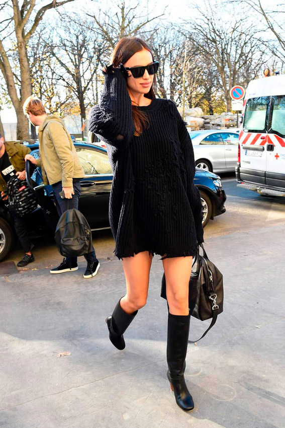 Irina shaik wearing black sweater in paris