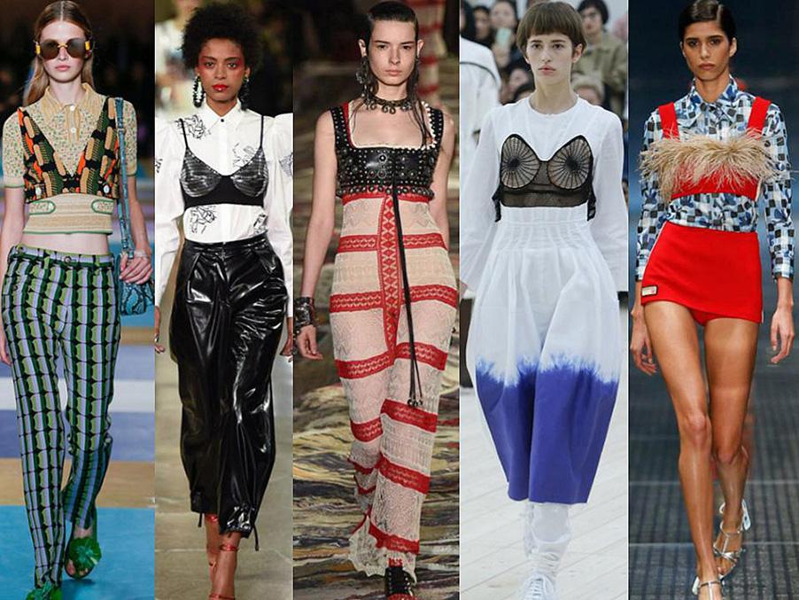 trend 2017 bralettes 2017 Miu miu, Kenzo, Alexander McQueen, Céline, Prada