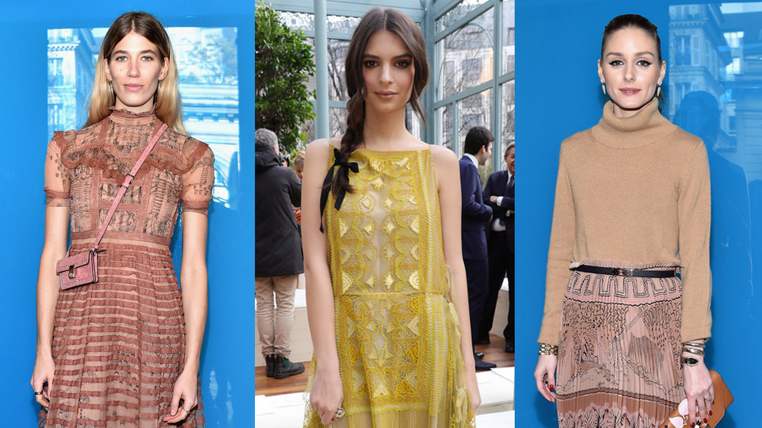 celebrities en el front row de Valentino