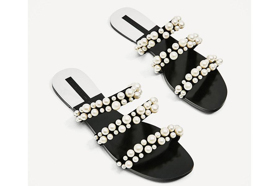 Sandalias con perlas de zara primavera 2017