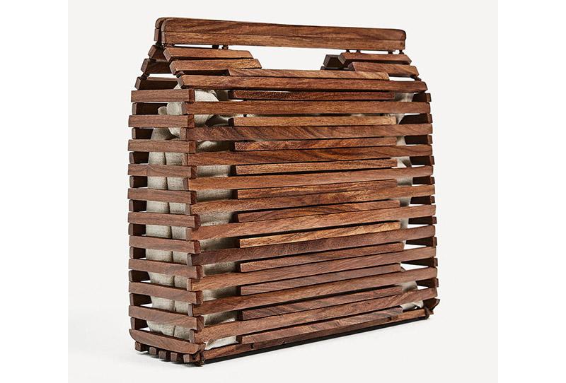 zara mini capazo de madera. bolsos de madera