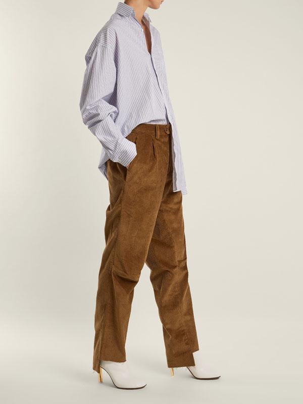 balenciaga corduroy trousers streetstyle