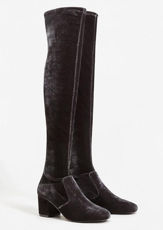 Mango velvet boots