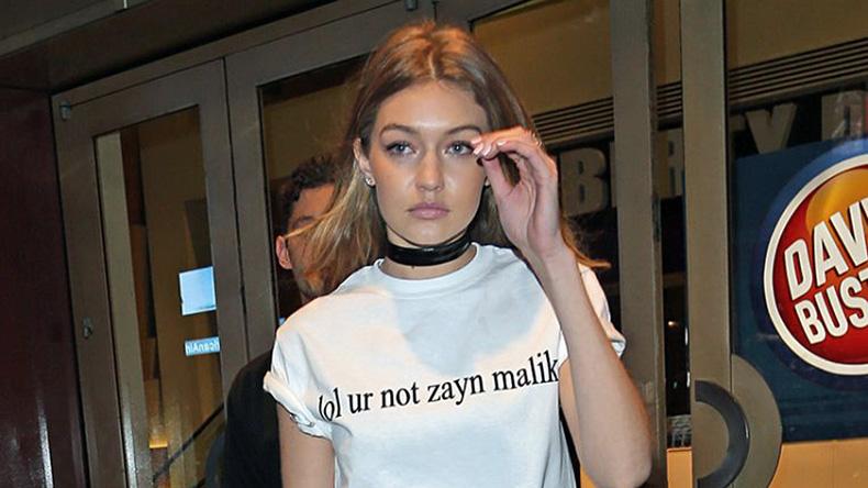 Gigi hadid wearing white t-shirt