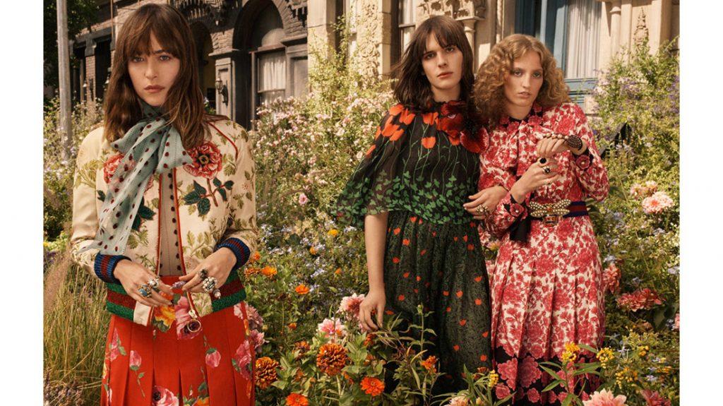 Dakota Johnson, Hari Nef and Petra Collins for gucci bloom campaign